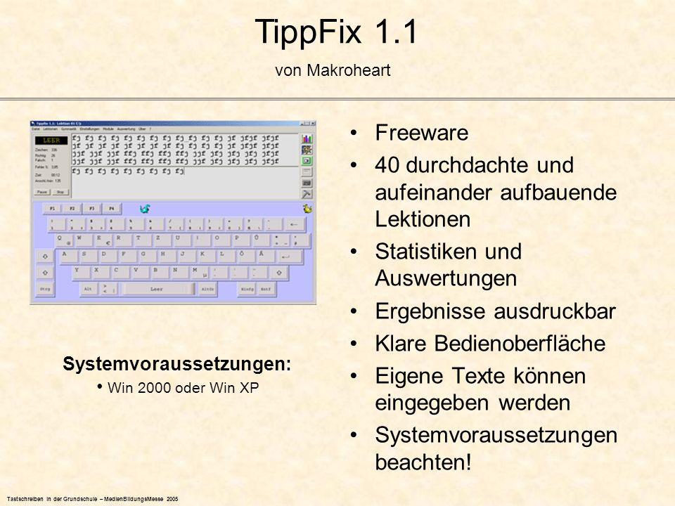 TippFix 1.1 Freeware 40 durchdachte und aufeinander aufbauende Lektionen Statistiken und Auswertungen Ergebnisse ausdruckbar Klare Bedienoberfläche Ei