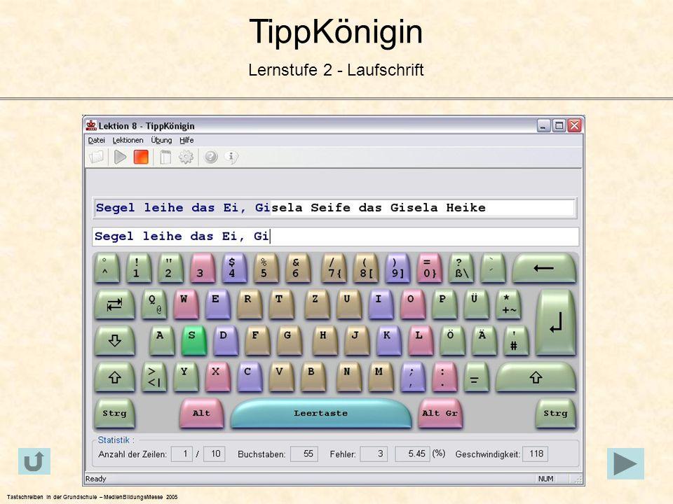 TippKönigin Lernstufe 2 - Laufschrift Tastschreiben in der Grundschule – MedienBildungsMesse 2005