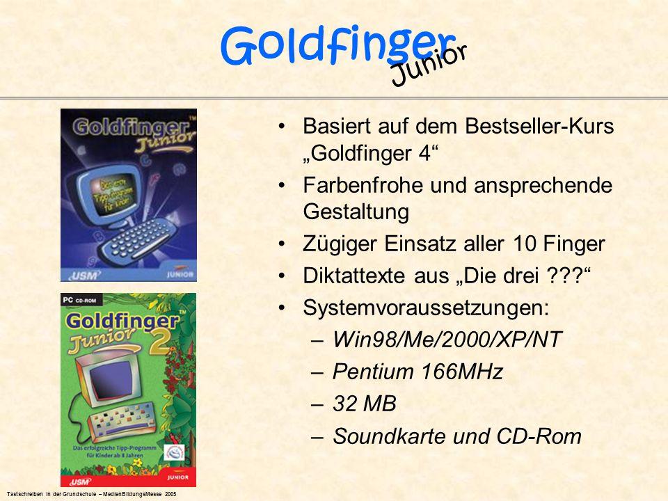 Basiert auf dem Bestseller-Kurs Goldfinger 4 Farbenfrohe und ansprechende Gestaltung Zügiger Einsatz aller 10 Finger Diktattexte aus Die drei ??? Syst