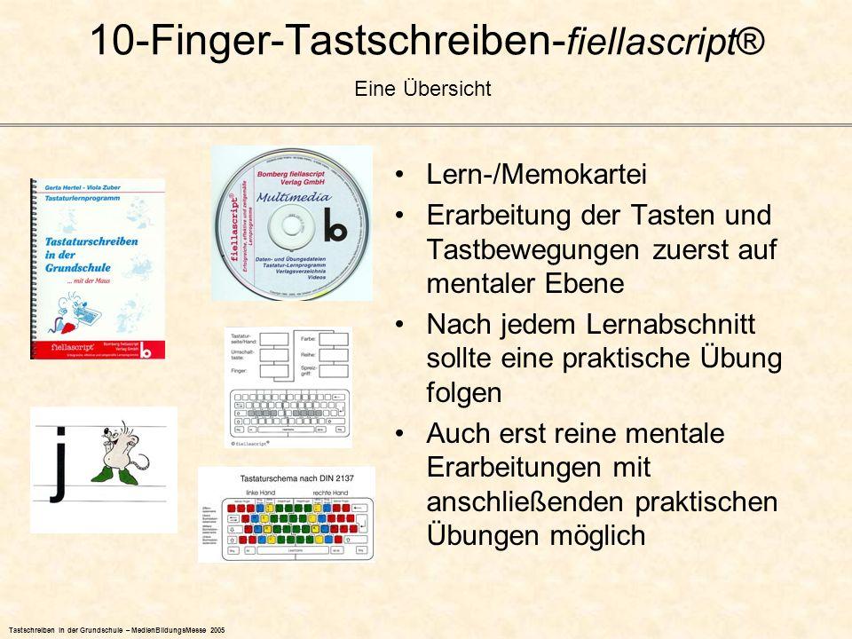 10-Finger-Tastschreiben- fiellascript® Lern-/Memokartei Erarbeitung der Tasten und Tastbewegungen zuerst auf mentaler Ebene Nach jedem Lernabschnitt s