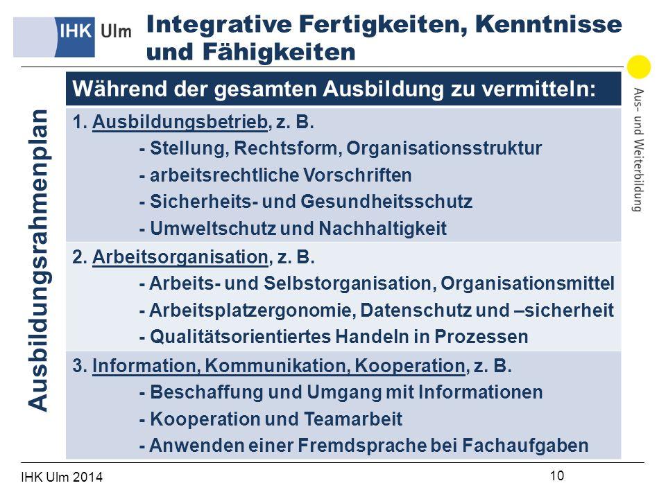 IHK Ulm 2014 10 Während der gesamten Ausbildung zu vermitteln: 1.