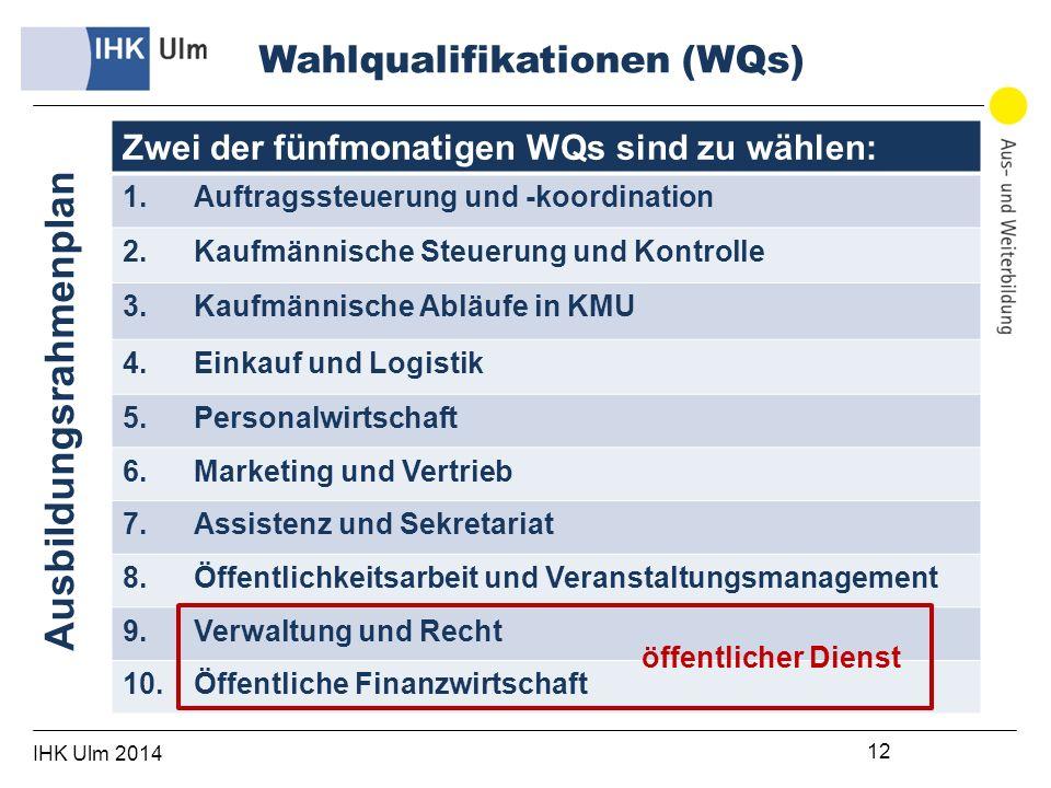 IHK Ulm 2014 12 Zwei der fünfmonatigen WQs sind zu wählen: 1.Auftragssteuerung und -koordination 2.Kaufmännische Steuerung und Kontrolle 3.Kaufmännische Abläufe in KMU 4.Einkauf und Logistik 5.Personalwirtschaft 6.Marketing und Vertrieb 7.Assistenz und Sekretariat 8.Öffentlichkeitsarbeit und Veranstaltungsmanagement 9.Verwaltung und Recht 10.Öffentliche Finanzwirtschaft Wahlqualifikationen (WQs) Ausbildungsrahmenplan öffentlicher Dienst