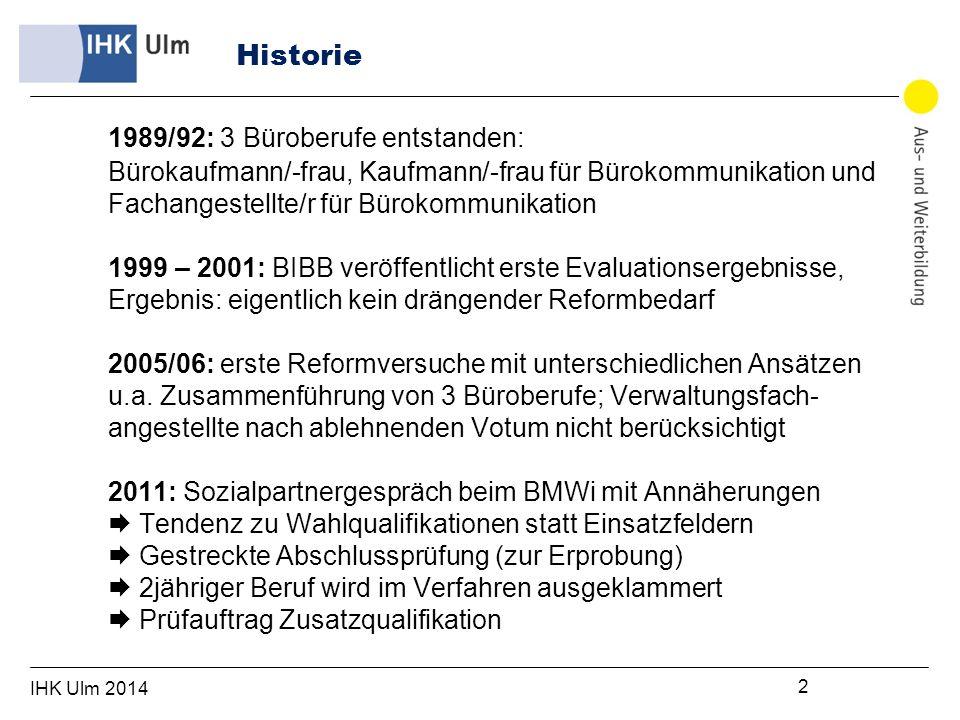 IHK Ulm 2014 3 BerufBereich199920102011 Bürokaufleute alle74.30453.92252.164 davon IHK57.33643.52741.856 Handwerk16.96810.39510.308 Kaufleute für Bürokommunikationalle30.36933.55231.464 Fachangestellte für Bürokommunikationnur ö.