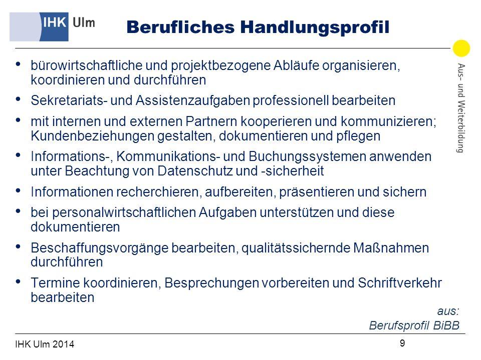 IHK Ulm 2014 20 Prüfung Zusatzqualifikation (ZQ) Gesonderte Prüfung im Rahmen der Abschlussprüfung, die separat bescheinigt wird.