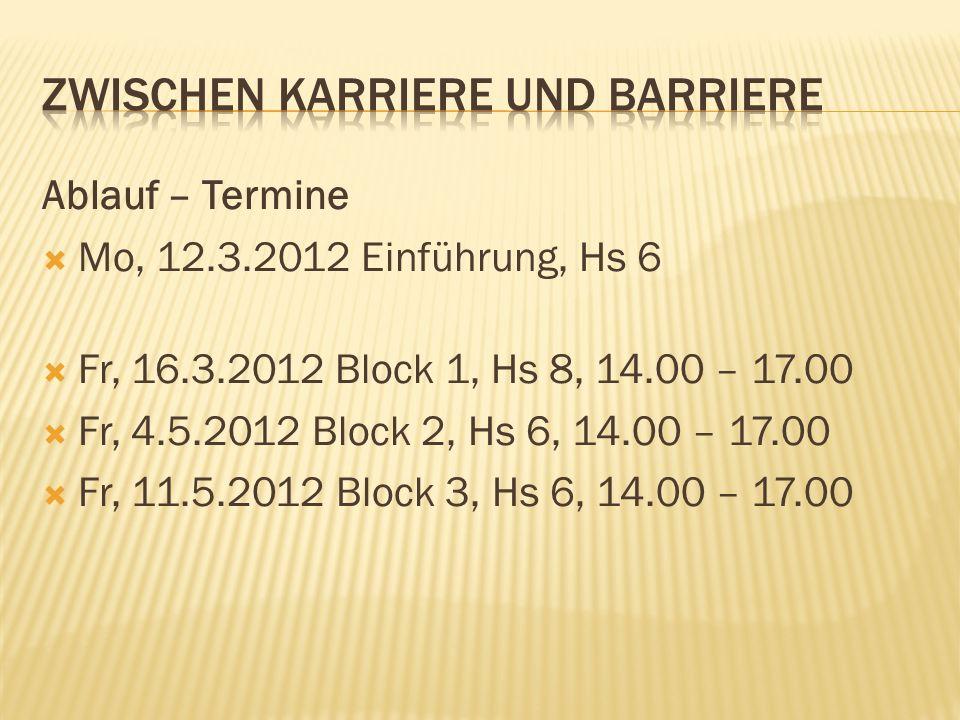 Ablauf – Termine Mo, 12.3.2012 Einführung, Hs 6 Fr, 16.3.2012 Block 1, Hs 8, 14.00 – 17.00 Fr, 4.5.2012 Block 2, Hs 6, 14.00 – 17.00 Fr, 11.5.2012 Blo