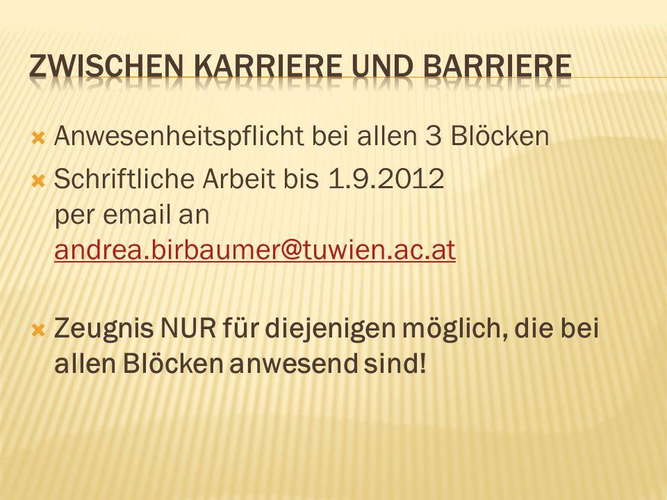 Anwesenheitspflicht bei allen 3 Blöcken Schriftliche Arbeit bis 1.9.2012 per email an andrea.birbaumer@tuwien.ac.at andrea.birbaumer@tuwien.ac.at Zeug