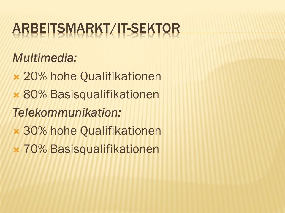 Multimedia: 20% hohe Qualifikationen 80% Basisqualifikationen Telekommunikation: 30% hohe Qualifikationen 70% Basisqualifikationen