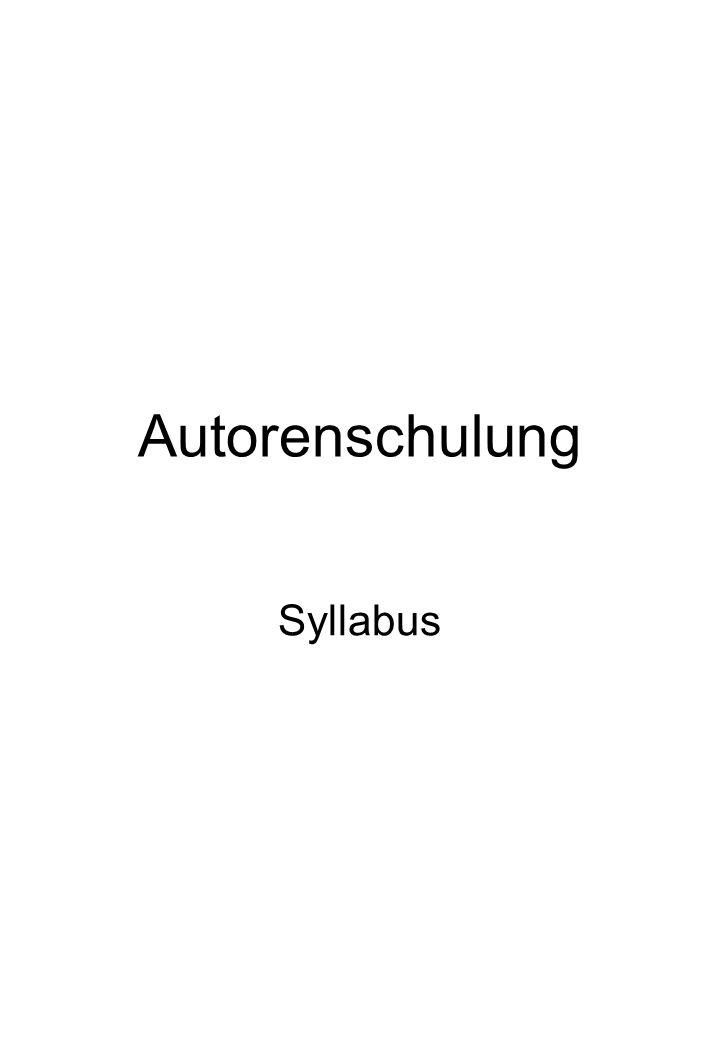 Autorenschulung Syllabus