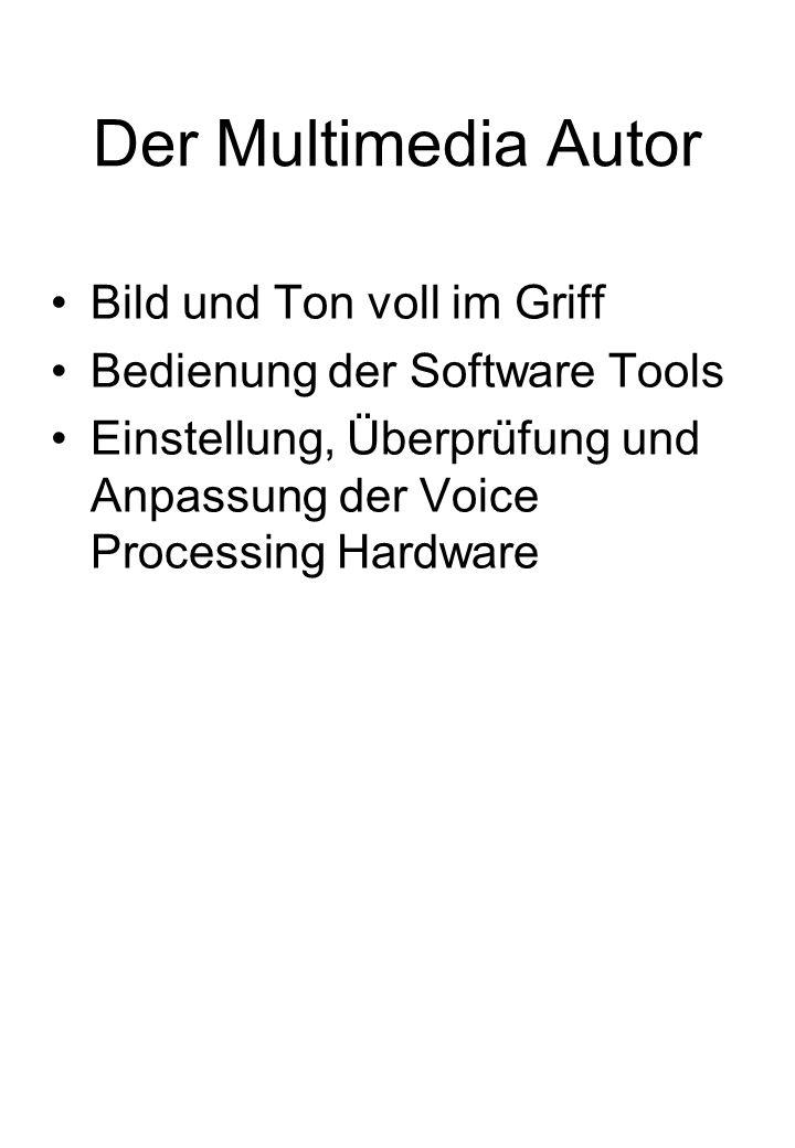 Der Multimedia Autor Bild und Ton voll im Griff Bedienung der Software Tools Einstellung, Überprüfung und Anpassung der Voice Processing Hardware