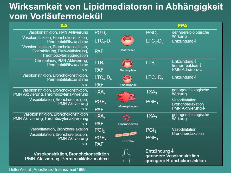 Wirksamkeit von Lipidmediatoren in Abhängigkeit vom Vorläufermolekül Vasokonstriktion, PMN-Aktivierung Vasokonstriktion, Bronchokonstriktion, Permeabi