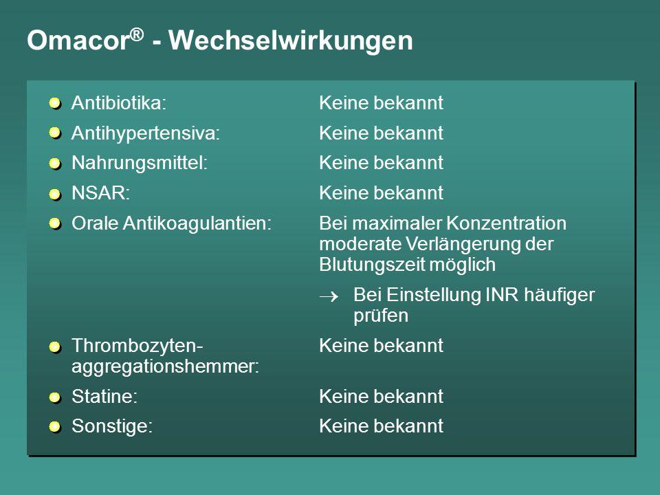 Omacor ® - Wechselwirkungen Antibiotika:Keine bekannt Antihypertensiva:Keine bekannt Nahrungsmittel:Keine bekannt NSAR:Keine bekannt Orale Antikoagula