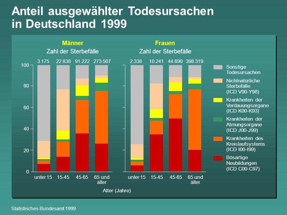Anteil ausgewählter Todesursachen in Deutschland 1999 Statistisches Bundesamt 1999 Sonstige Todesursachen Nichtnatürliche Sterbefälle (ICD V00-Y98) Kr