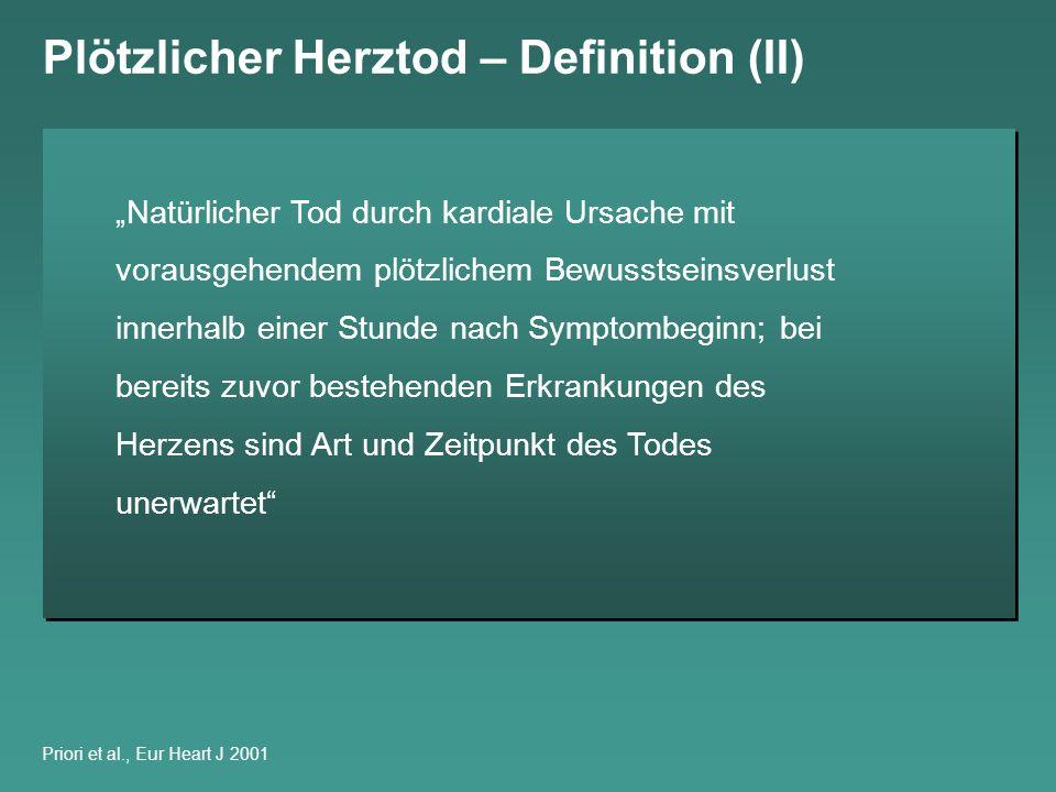 Plötzlicher Herztod – Inzidenz Inzidenz des Plötzlichen Herztodes in verschiedenen populations- basierten Studien 1 de Vreede-Swagemakers et al., J Am Coll Cardiol 1997; 2 WHO 1985; 3 Demirovic et al.