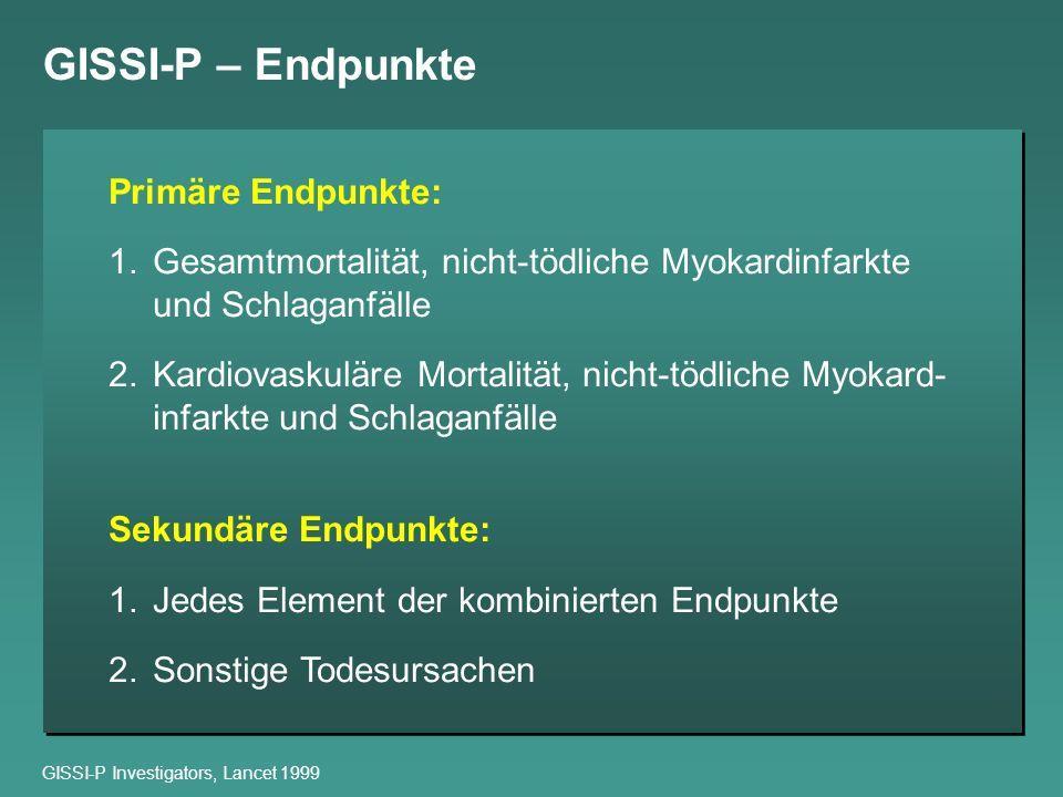 GISSI-P – Endpunkte Primäre Endpunkte: 1.Gesamtmortalität, nicht-tödliche Myokardinfarkte und Schlaganfälle 2.Kardiovaskuläre Mortalität, nicht-tödlic
