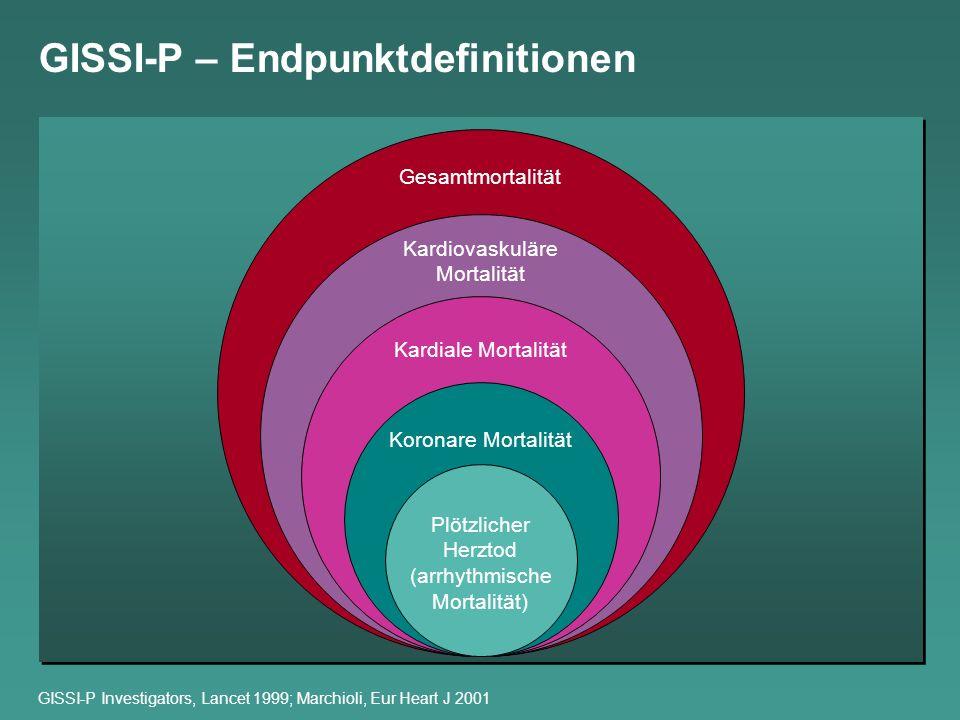 GISSI-P – Endpunktdefinitionen GISSI-P Investigators, Lancet 1999; Marchioli, Eur Heart J 2001 Plötzlicher Herztod (arrhythmische Mortalität) Koronare