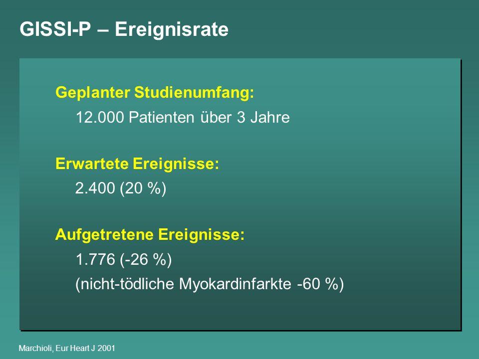 GISSI-P – Ereignisrate Marchioli, Eur Heart J 2001 Geplanter Studienumfang: 12.000 Patienten über 3 Jahre Erwartete Ereignisse: 2.400 (20 %) Aufgetret