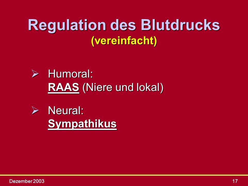 Dezember 200317 Regulation des Blutdrucks (vereinfacht) ØHumoral: RAAS (Niere und lokal) ØNeural: Sympathikus