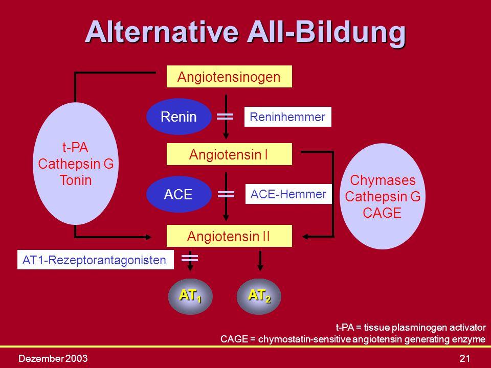Dezember 200321 Angiotensinogen Angiotensin I Angiotensin II Renin ACE t-PA Cathepsin G Tonin Chymases Cathepsin G CAGE t-PA = tissue plasminogen acti