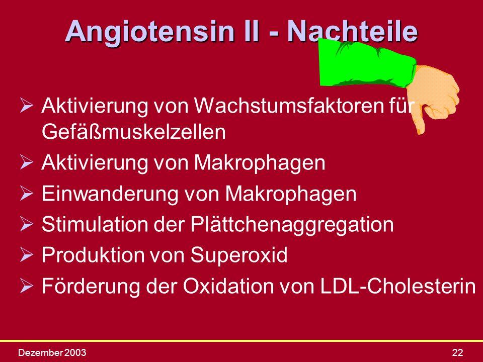 Dezember 200322 Angiotensin II - Nachteile Ø ØAktivierung von Wachstumsfaktoren für Gefäßmuskelzellen Ø ØAktivierung von Makrophagen Ø ØEinwanderung v