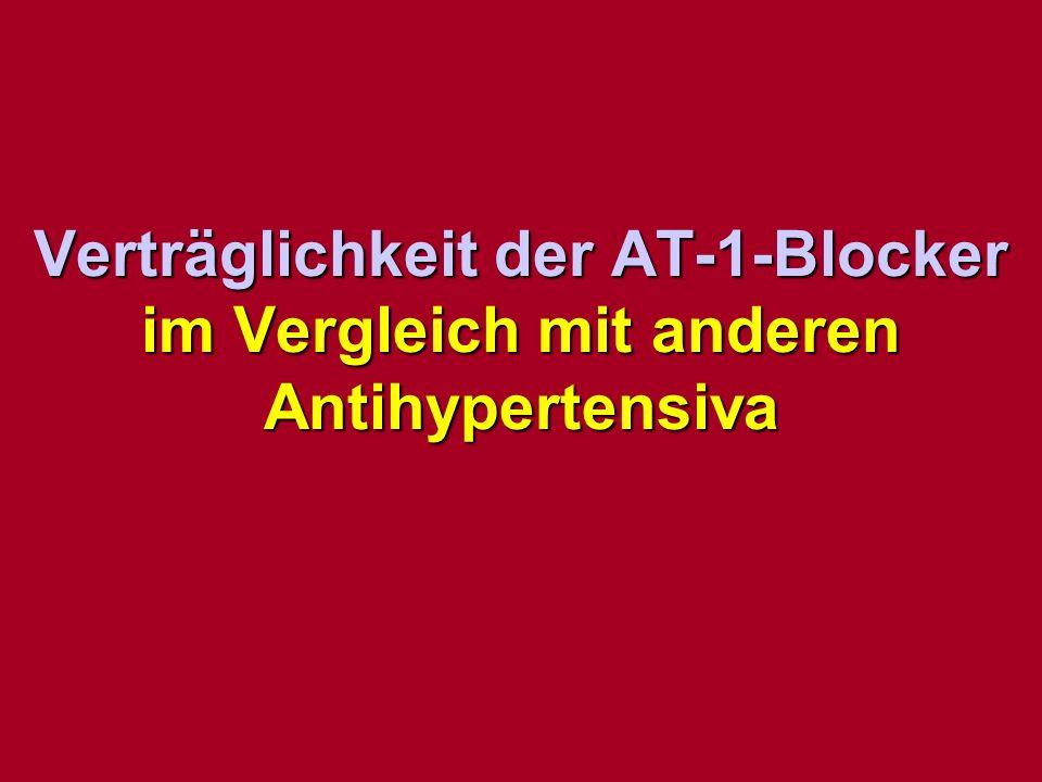 Verträglichkeit der AT-1-Blocker im Vergleich mit anderen Antihypertensiva