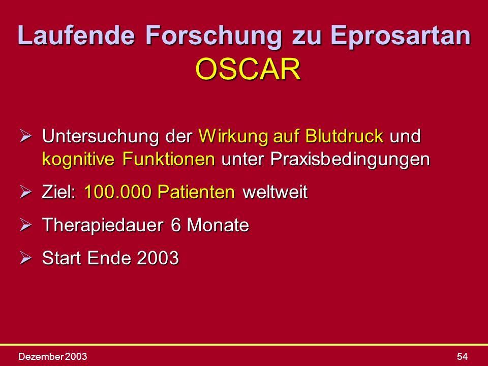 Dezember 200354 ØUntersuchung der Wirkung auf Blutdruck und kognitive Funktionen unter Praxisbedingungen ØZiel: 100.000 Patienten weltweit ØTherapieda