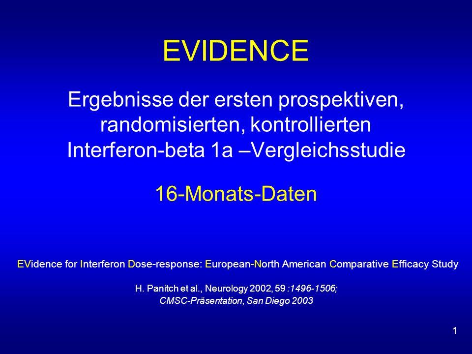 1 EVIDENCE Ergebnisse der ersten prospektiven, randomisierten, kontrollierten Interferon-beta 1a –Vergleichsstudie 16-Monats-Daten EVidence for Interferon Dose-response: European-North American Comparative Efficacy Study H.
