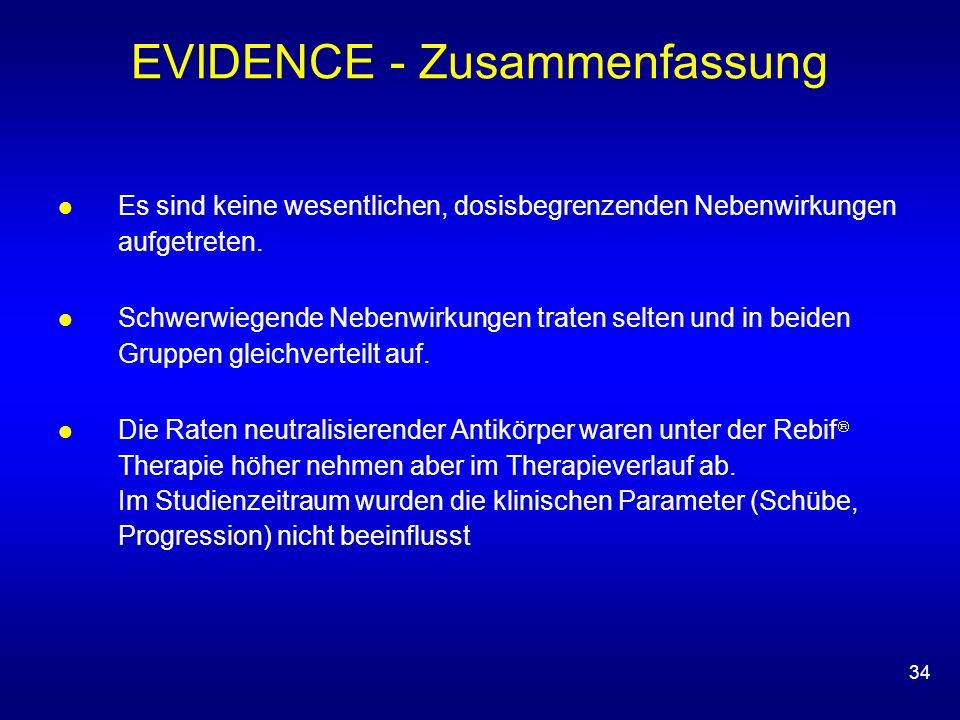 34 EVIDENCE - Zusammenfassung Es sind keine wesentlichen, dosisbegrenzenden Nebenwirkungen aufgetreten. Schwerwiegende Nebenwirkungen traten selten un