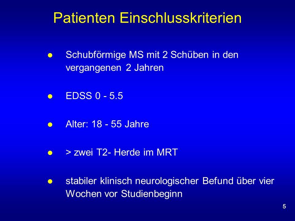 5 Patienten Einschlusskriterien Schubförmige MS mit 2 Schüben in den vergangenen 2 Jahren EDSS 0 - 5.5 Alter: 18 - 55 Jahre > zwei T2- Herde im MRT stabiler klinisch neurologischer Befund über vier Wochen vor Studienbeginn
