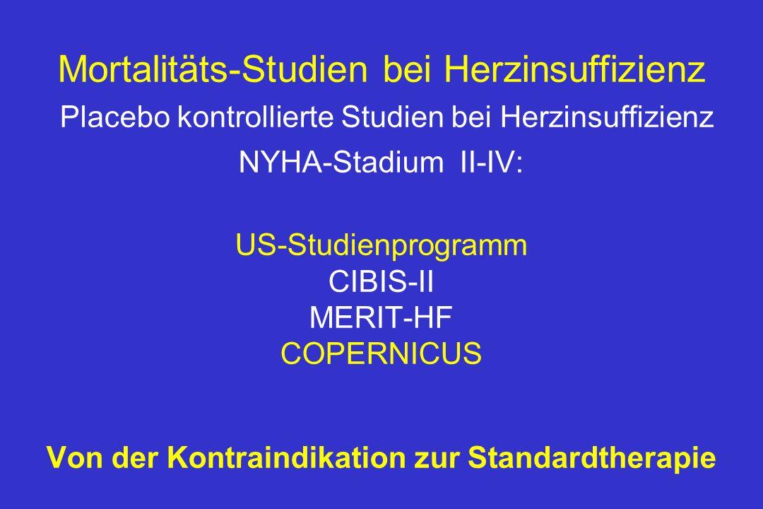 Mortalitäts-Studien bei Herzinsuffizienz Placebo kontrollierte Studien bei Herzinsuffizienz NYHA-Stadium II-IV: US-Studienprogramm CIBIS-II MERIT-HF COPERNICUS Von der Kontraindikation zur Standardtherapie
