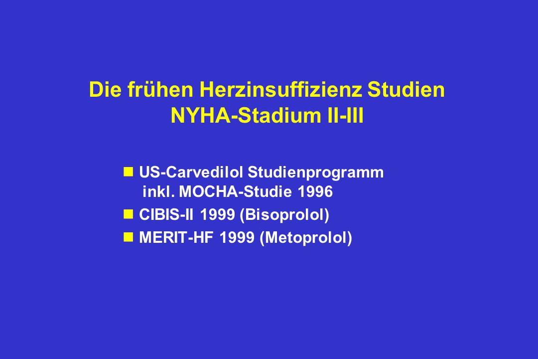 Die frühen Herzinsuffizienz Studien NYHA-Stadium II-III n US-Carvedilol Studienprogramm inkl.