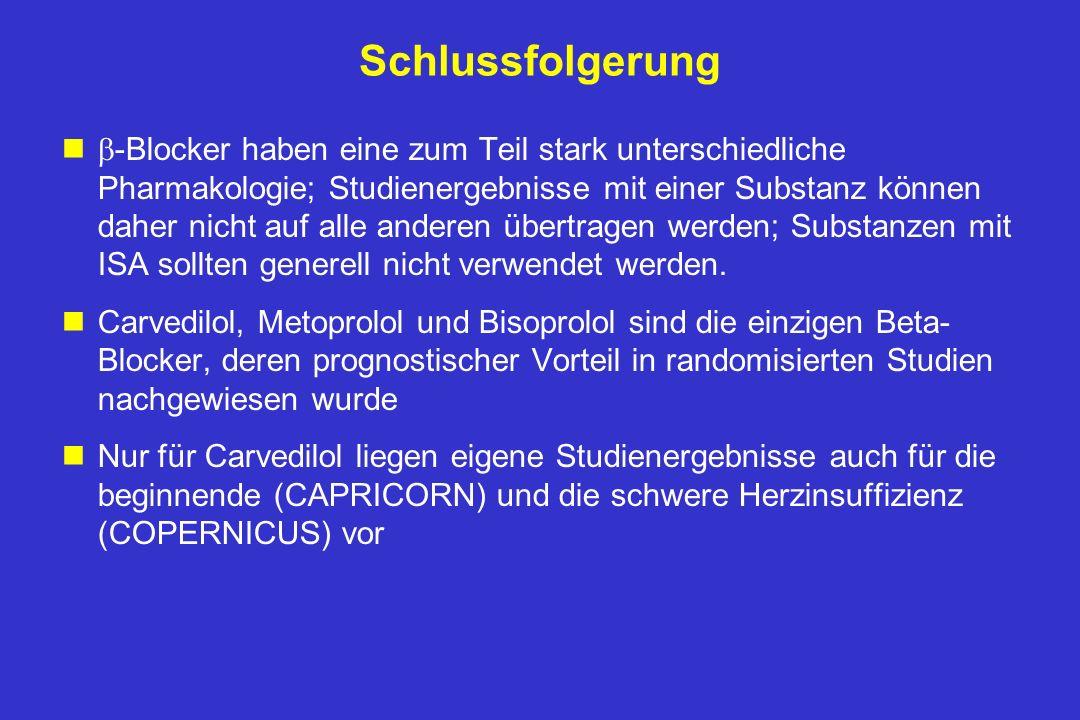Zusammenfassung nCOPERNICUS zeigt, dass Carvedilol nicht nur - wie schon früher bewiesen - bei leichter bis mittelschwerer Herzinsuffizienz sicher und