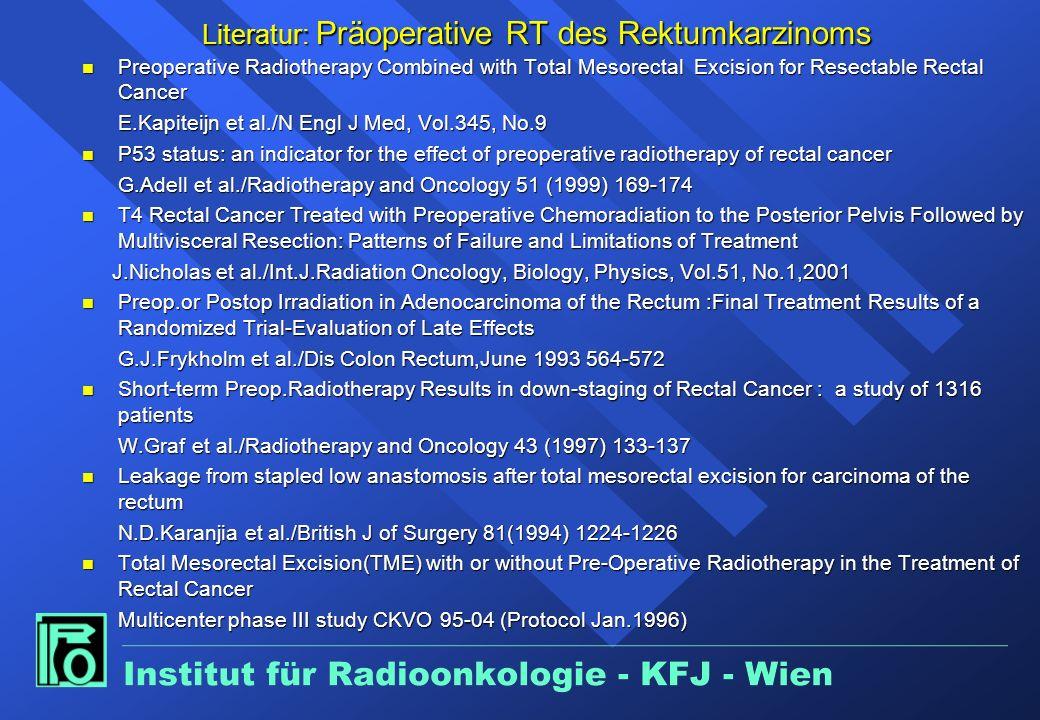 Präoperative Radiotherapie des Rektumkarzinoms Langzeitvorbestrahlung n Große Tumoren Downstaging / Downsizing n Tiefsitzende Tumoren Sphinktererhaltu