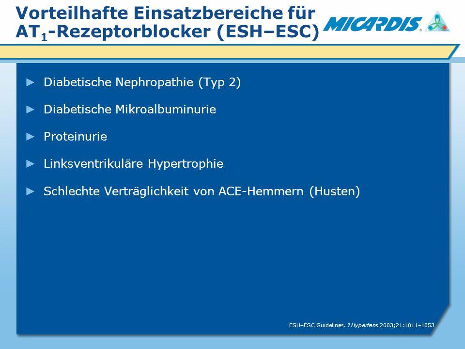 Vorteilhafte Einsatzbereiche für AT 1 -Rezeptorblocker (ESH–ESC) Diabetische Nephropathie (Typ 2) Diabetische Mikroalbuminurie Proteinurie Linksventrikuläre Hypertrophie Schlechte Verträglichkeit von ACE-Hemmern (Husten) ESH–ESC Guidelines.