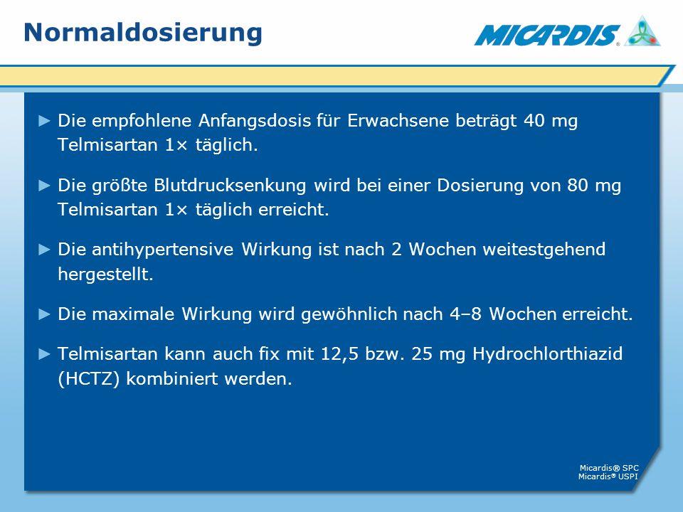 Normaldosierung Die empfohlene Anfangsdosis für Erwachsene beträgt 40 mg Telmisartan 1× täglich.