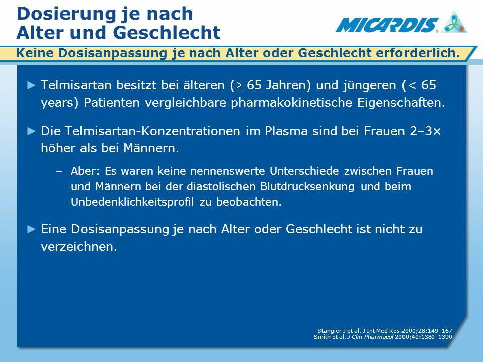 Dosierung je nach Alter und Geschlecht Telmisartan besitzt bei älteren ( 65 Jahren) und jüngeren (< 65 years) Patienten vergleichbare pharmakokinetische Eigenschaften.