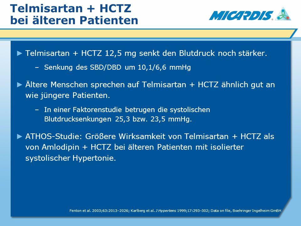 Telmisartan + HCTZ bei älteren Patienten Telmisartan + HCTZ 12,5 mg senkt den Blutdruck noch stärker.