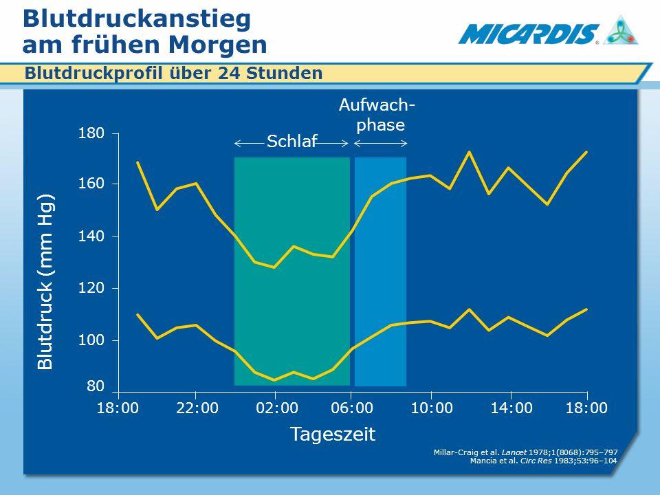 Blutdruckanstieg am frühen Morgen Tageszeit Blutdruck (mm Hg) 18:00 22:00 02:00 06:00 10:00 14:00 18:00 Aufwach- phase Schlaf 180 160 140 120 100 80 Millar-Craig et al.