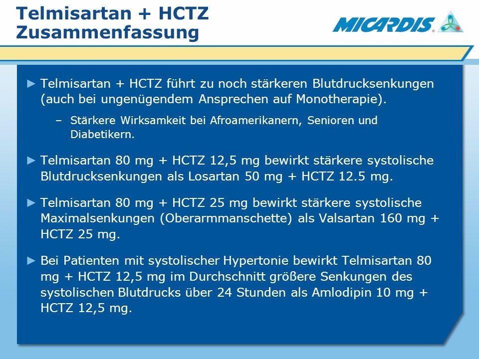 Telmisartan + HCTZ Zusammenfassung Telmisartan + HCTZ führt zu noch stärkeren Blutdrucksenkungen (auch bei ungenügendem Ansprechen auf Monotherapie).