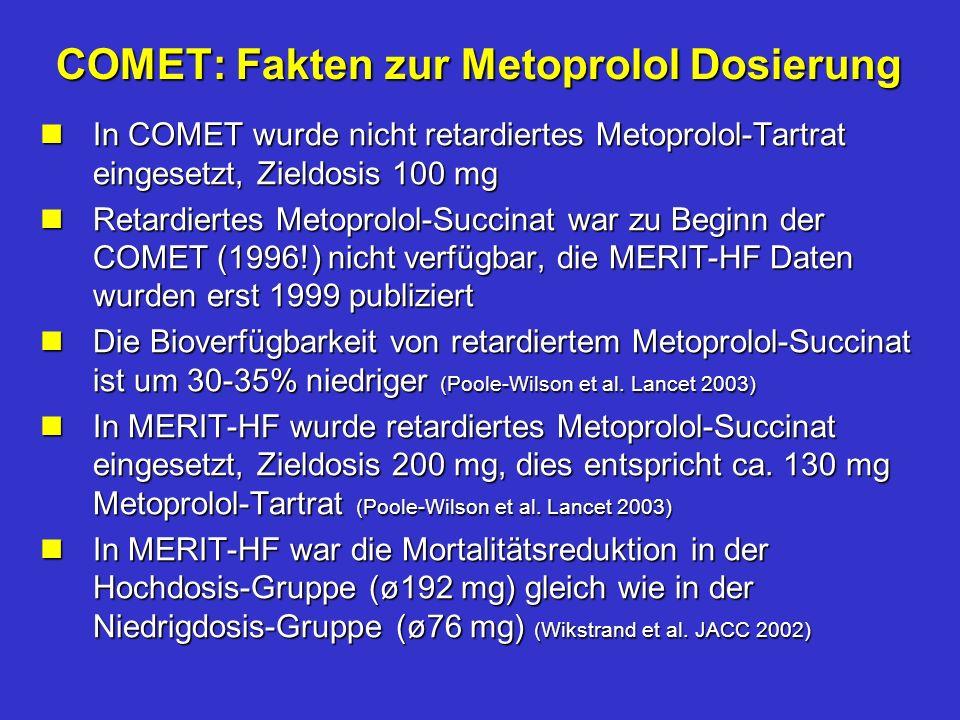 COMET: Fakten zur Metoprolol Dosierung nIn COMET wurde nicht retardiertes Metoprolol-Tartrat eingesetzt, Zieldosis 100 mg nRetardiertes Metoprolol-Succinat war zu Beginn der COMET (1996!) nicht verfügbar, die MERIT-HF Daten wurden erst 1999 publiziert nDie Bioverfügbarkeit von retardiertem Metoprolol-Succinat ist um 30-35% niedriger (Poole-Wilson et al.