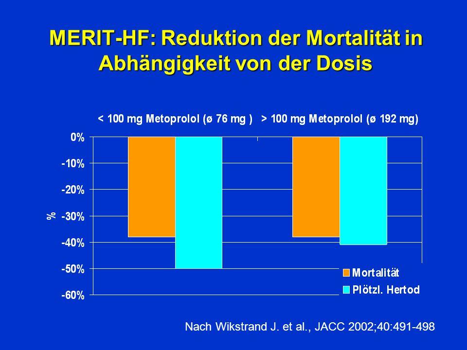 MERIT-HF: Reduktion der Mortalität in Abhängigkeit von der Dosis Nach Wikstrand J. et al., JACC 2002;40:491-498