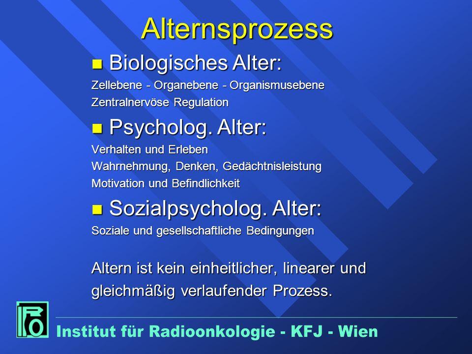 Alternsprozess n Biologisches Alter: Zellebene - Organebene - Organismusebene Zentralnervöse Regulation n Psycholog.