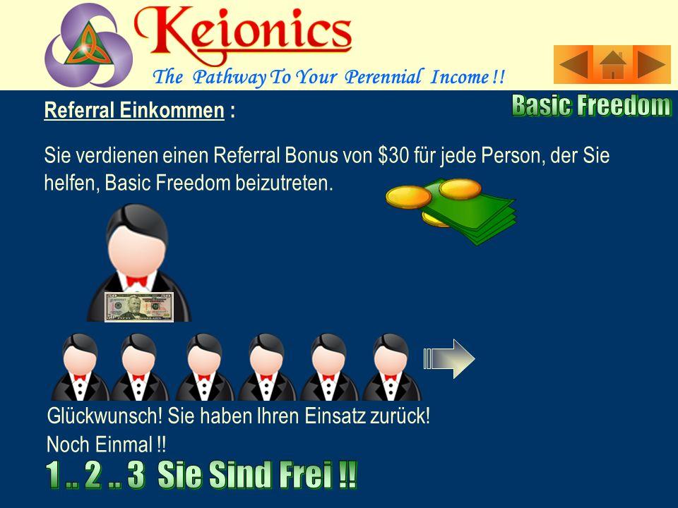 Referral Einkommen : Sie verdienen einen Referral Bonus von $30 für jede Person, der Sie helfen, Basic Freedom beizutreten.