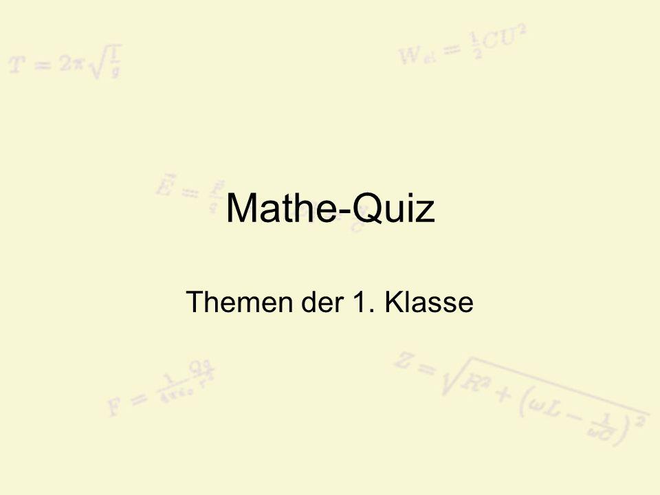Mathe-Quiz Themen der 1. Klasse