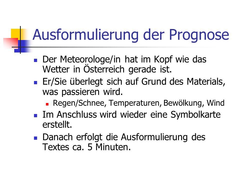 Ausformulierung der Prognose Der Meteorologe/in hat im Kopf wie das Wetter in Österreich gerade ist. Er/Sie überlegt sich auf Grund des Materials, was