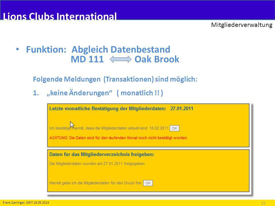 Lions Clubs International Mitgliederverwaltung 15 Frank Gerlinger, GRIT 19.05.2014 Folgende Meldungen (Transaktionen) sind möglich: 1.keine Änderungen ( monatlich !.