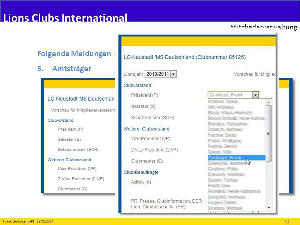 Lions Clubs International Mitgliederverwaltung 31 Frank Gerlinger, GRIT 19.05.2014 Folgende Meldungen (Transaktionen) sind möglich: 5.Amtsträger