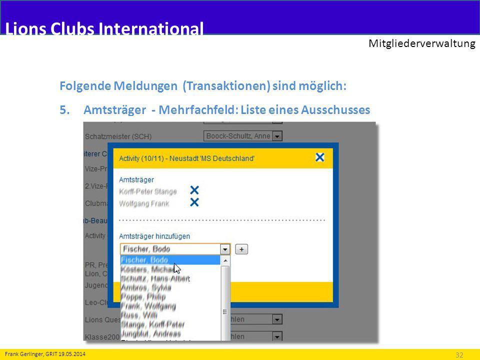 Lions Clubs International Mitgliederverwaltung 32 Frank Gerlinger, GRIT 19.05.2014 Folgende Meldungen (Transaktionen) sind möglich: 5.Amtsträger - Meh