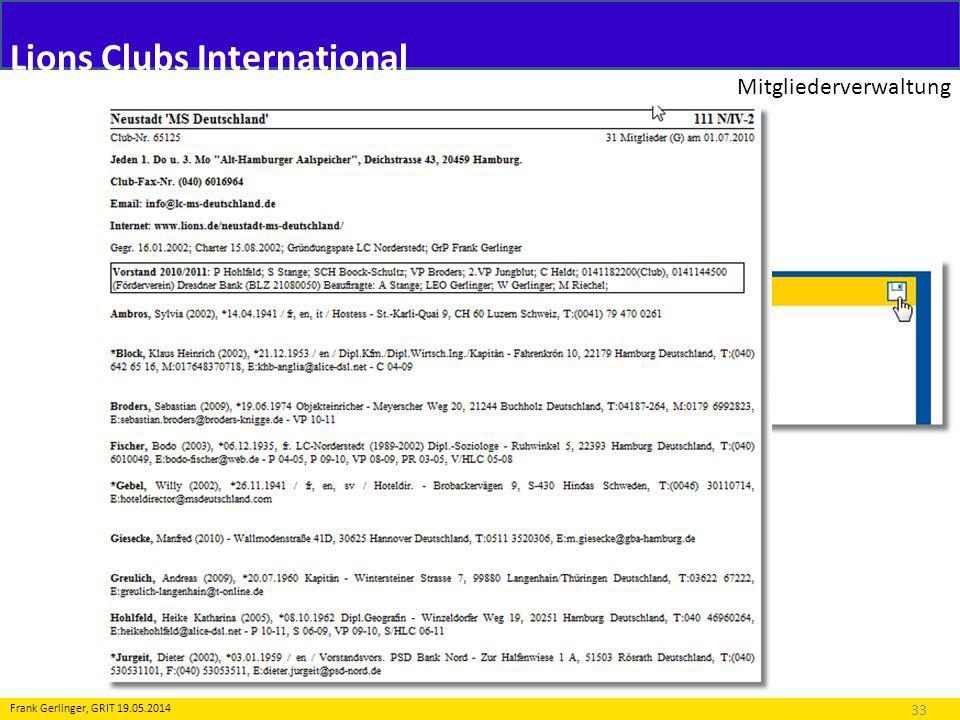 Lions Clubs International Mitgliederverwaltung 33 Frank Gerlinger, GRIT 19.05.2014 Folgende Meldungen (Transaktionen) sind möglich: 5.Amtsträger - Druckvorschau