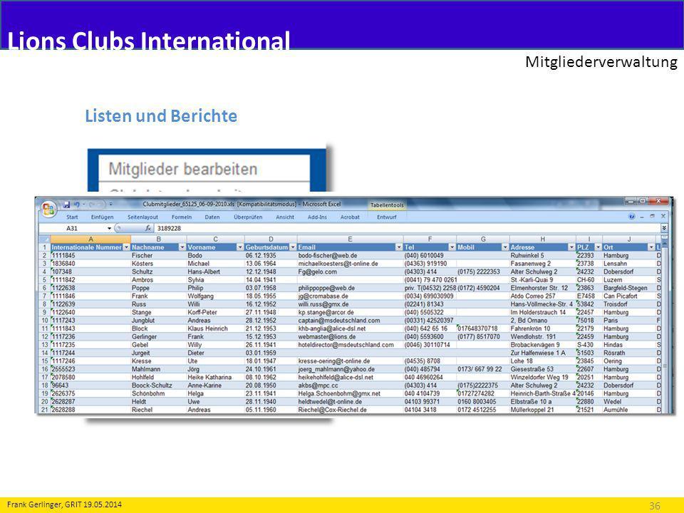 Lions Clubs International Mitgliederverwaltung 36 Frank Gerlinger, GRIT 19.05.2014 Listen und Berichte