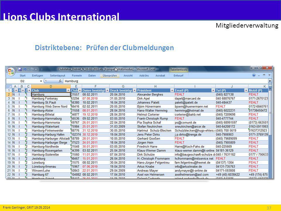 Lions Clubs International Mitgliederverwaltung 37 Frank Gerlinger, GRIT 19.05.2014 Distriktebene: Prüfen der Clubmeldungen